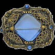 SALE Art Deco  Czech 1930s Blue Glass Brass Bronze Brooch