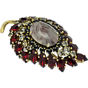 CHRISTIAN DIOR  Vintage  Dated 1964 Art Glass Brooch