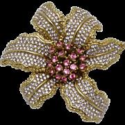 CINER Vintage Fuchsia Amethyst Rhinestone Orchid Flower Brooch