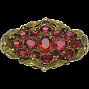 Ornate ART DECO Brass Glass Rhinestone Riveted Brooch