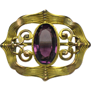 Antique Victorian Sash Pin Rolled Gold  Amethyst Open C Clasp