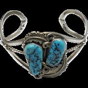 HOPI Master Hubert Yowytewa  Sterling Silver Turquoise Cuff Bracelet Signed Rare