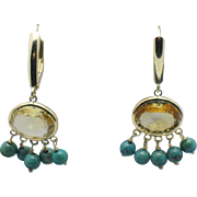 14K Yellow Gold Citrine Turquoise Dangle Earrings Signed