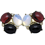 CINER Cabochon Glass Moghul Style Clip Earrings