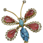 Rare MIMI Di N Vintage Figural Butterfly Brooch Turquoise Rhinestone Glass