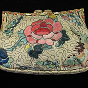 SOLD Superb 1930's Embroidered Purse with Different Scenes on Each Side, Faux Pearl and Coral
