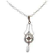 Edwardian Gold, Seed Pearl and Diamond Lavaliere