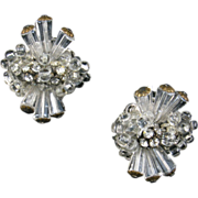 Robert Clear Crystal and Rhinestone Earrings