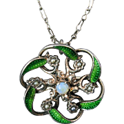 Antique Brooch / Pendant with Green Enamel, Seed Pearls, and Opal on Gilt Silver