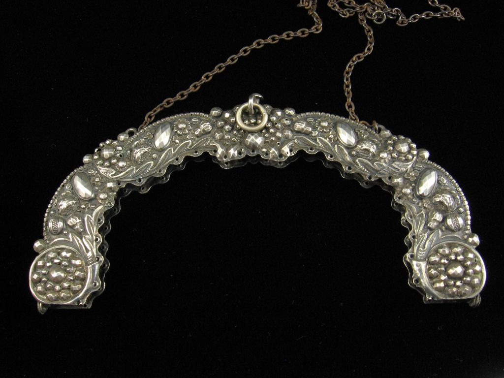 Exquisite Early 19th Century French Repousse Silver Purse Frame