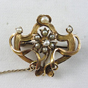 SOLD Art Nouveau Gold and Seed Pearl Brooch/Pendant