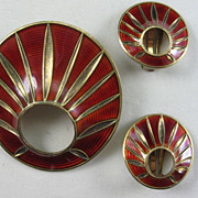 Modernist Norwegian Enamel Earrings and Brooch in Burnt Orange by OSV A/S