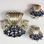 SALE Boucher Demi-Parure of Clip and Earrings with Sapphire Stones and Phrygian Cap Mark
