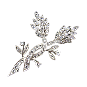 Signed DuJay Sterling Brooch with Synthetic Spinal
