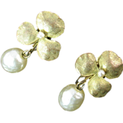 Haskell Earrings with Gold Flower and Pearl Drops