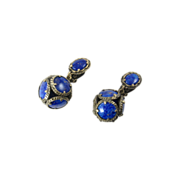 Trifari Renaissance Collection Earrings with Lapis Glass