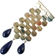 SALE Vogue Honeycomb Hexagone-style Brooch with Blue Drops