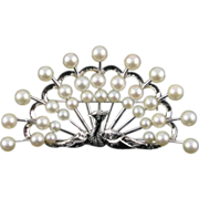 Large Peacock Brooch of Sterling and Cultured Pearls