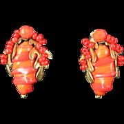 Orange Miriam Haskell Earrings