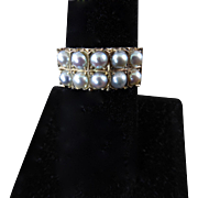 Edwardian Ring with Two Rows of Gray Pearls