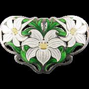 Art Nouveau Enamel Brooch of Lillies