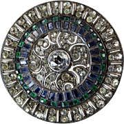Art Deco Sterling Brooch with Clear, Green, Blue, and Black Paste Stones