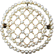 Edwardian 14 Karat Gold and Seed Pearl Brooch