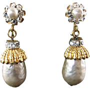 Miriam Haskell Earring with Large Faux Pearl Drops