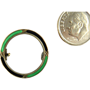 Small and Early Aksel Holmsen Circle Brooch in Green and Black Enamel