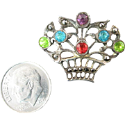 Small Early 20th Century Silver and Paste Flower Basket Brooch