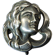 Art Nouveau Sterling Lady Head Watch Pin