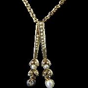 Edwardian Seed Pearl and Diamond 10 Karat Gold Lavalier