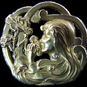 French Art Nouveau Lady Head Brooch