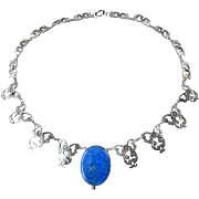 Necklace with Blue Stone Pendant and Engraved Silver Links
