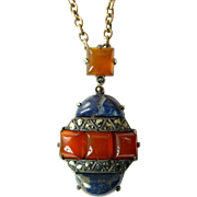 Art Deco Lapis and Carnelian Pendant Set in Silver with Marcasite Accents