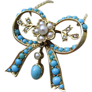 Beyond Romantic Victorian Turquoise & Pearl Bow Converted 18k Necklace