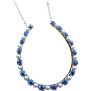 SALE Glorious Edwardian Sapphire & Pearl Converted Necklace 14k