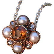 Regal Topaz Pearl Diamond Victorian Converted Pendant Necklace 14k