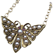 Victorian Butterfly Pearl & Garnet Converted Necklace 14k
