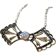 SALE Tied to Perfection Victorian Diamond and Enamel Bow Tie Converted Necklace 14k