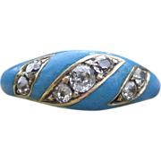 Vision in Blue Victorian Enamel and Diamond Ring 14k