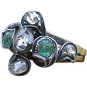SALE Glorious & Regal Victorian Diamond & Emerald 18k with Silver Ring