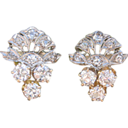 SALE Beyond Exceptional Diamond Edwardian Earrings Platinum & Gold
