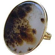 Nature's Beauty Victorian Moss Agate Gold Ring 14k & 10K