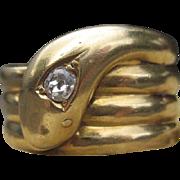 Luxurious Antique Snake Charmer Ring 18k
