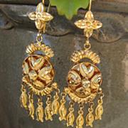 SALE Striking Victorian 22K Yellow Gold Drop Earrings