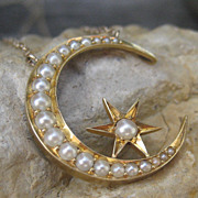 SALE Victorian Moon & Star Seed Pearl Pendant 14k Necklace