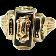 1949 RFA Rome Free Academy Class Ring 10k Gold Onyx Bastian Bros