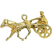 Horse Jockey Sulky 14k Gold Charm Walter Lampl Moveable Charm