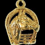 Vintage 14k Gold Horse Charm or Pendant Horseshoe